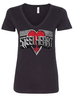 WOMENS V NECK STEELHEART T-SHIRT